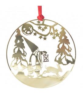 Déco sapin de Noël, lutin marchant dans la forêt