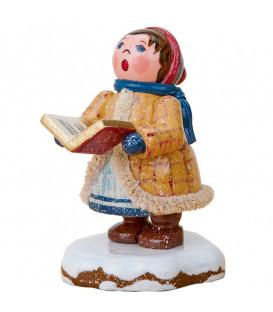 Village de Noël miniature, fillette chantant Noël