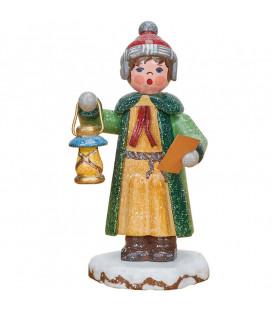 Village de Noël miniature, garconnet chantant Noël