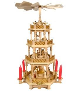 Superbe Weihnachtspyramid d'allemagne à 3 étages en bois naturel