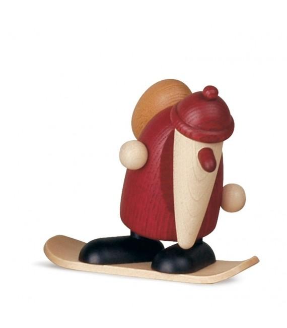 Père Noël rouge sur snowboard