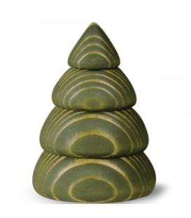 Petit sapin de Noël en bois design, 6,5 cm, vert