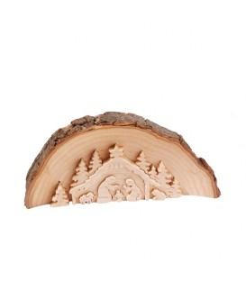 Crèche de Noël en relief, taillée dans un rondin de bois, 20 cm