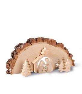 Crèche de Noël en bois ciselé dans un rondin de bois, 30 cm