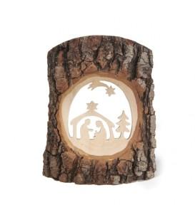 Crèche à poser en écorce de bois avec étoile filante, 18 cm