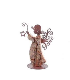 Ange de Noël en bois avec ailes métal, 15 cm