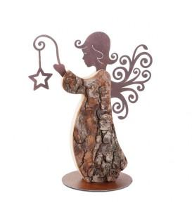 Statuette ange de Noël en bois avec ailes métal, 25 cm