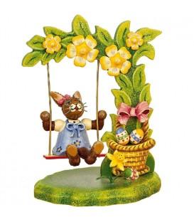 Lapin de Pâques en bois et balancoire fleurie