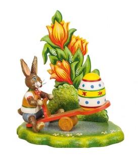 Lapin de Pâques en bois avec balancoire