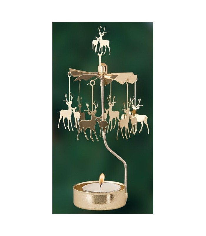 bougeoir carrousel cerf dor bougeoir de table. Black Bedroom Furniture Sets. Home Design Ideas