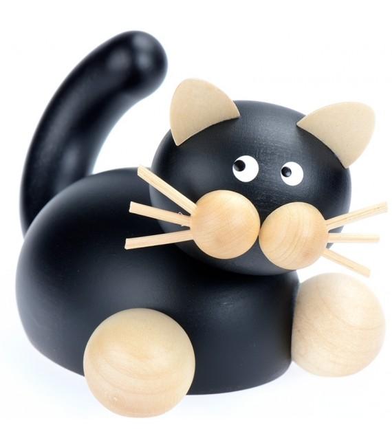 Statuette chat en bois noir couché