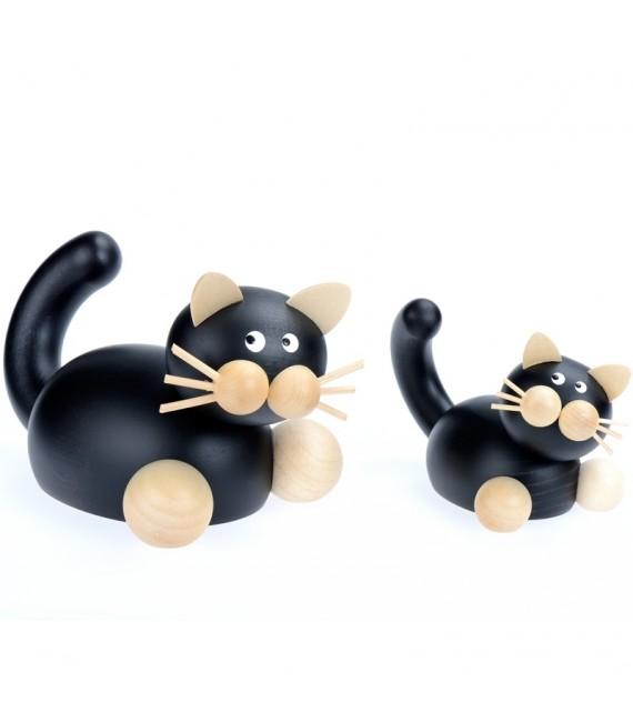 Magasin statuettes chat en bois noir
