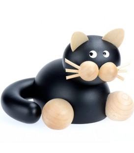 Statuette chat en bois couché noir, 8,5 cm