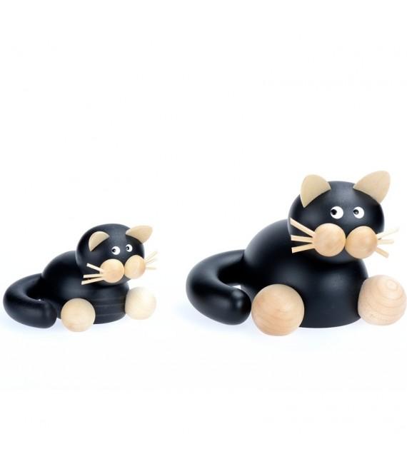 Statuette en bois chat noir