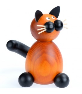 Figurine chat en bois peint assis, 8 cm