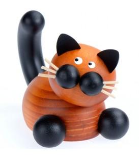 Chat en bois peint allongé, 5 cm