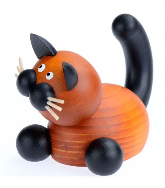 Figurine en bois chat allongé