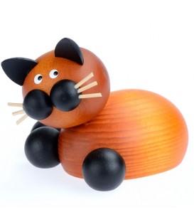 Figurine chat en bois peint couché, 5 cm