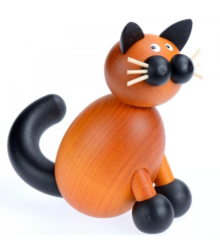 chat decoration d 233 coration en bois peint chat brun assis sur ses pattes