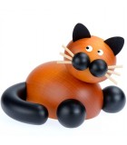 Statuette chat en bois avec pattes noires