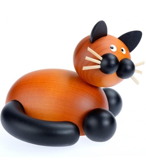Statuette decorative chat en bois