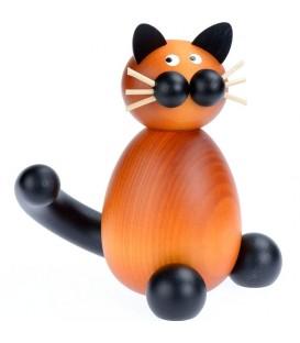 Statuette chat en bois assis, 12 cm