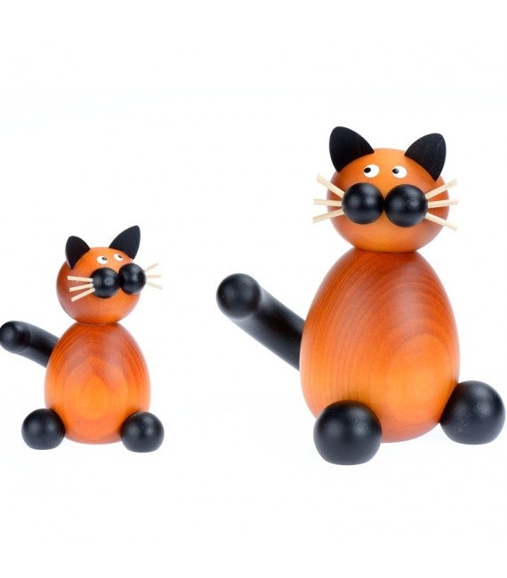 Statuette grand chat en bois