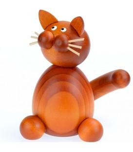 Figurine chat roux en bois peint assis, 8 cm