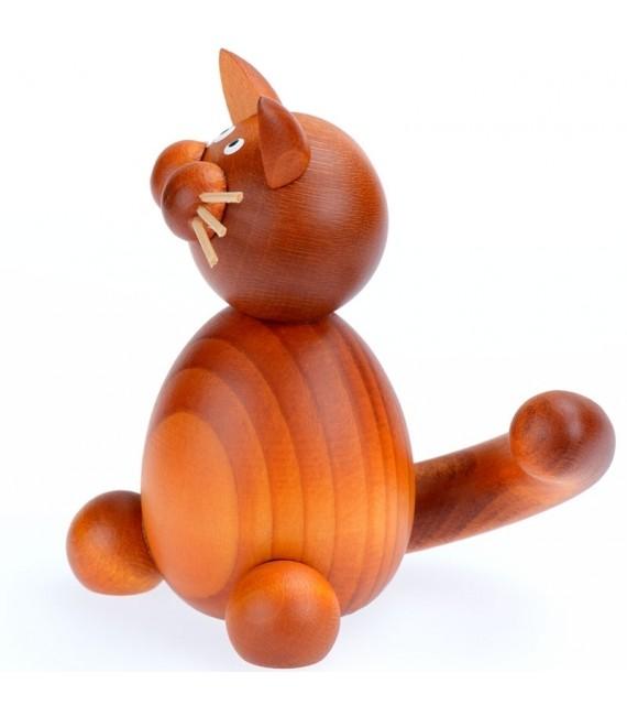 Figurines chat roux en bois