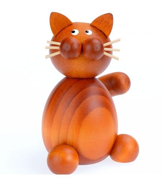 Figurine deco chat roux en bois