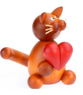 Petit chat en bois avec un coeur, 8 cm
