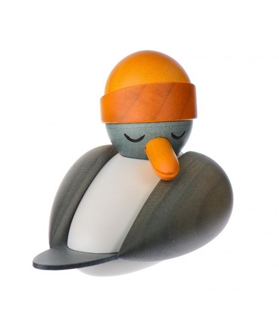 Statuette d'une mouette en bois avec bonnet marin