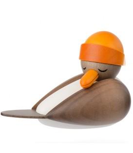 Mouette en bois grise avec bonnet marin jaune