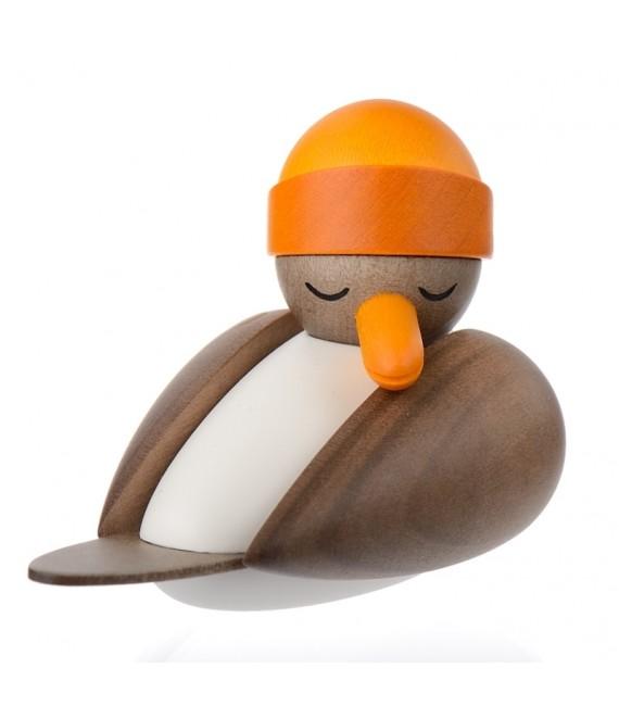 Figurine marine en bois mouette avec bonnet jaune