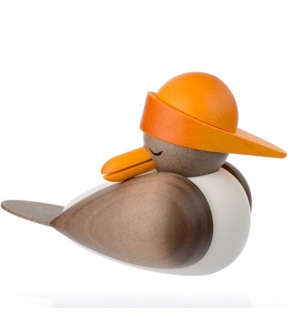 Figurines marines mouette en bois avec bonnet jaune