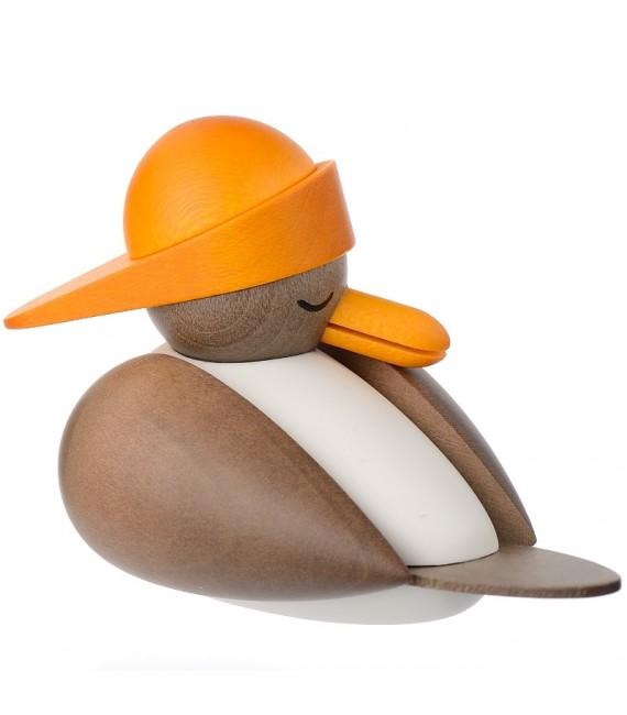 Mouette en bois, figurine marine avec bonnet jaune