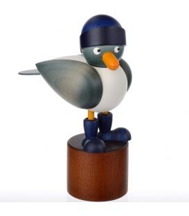 Mouette en bois sur pied, bleue avec bonnet marin bleu