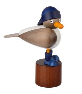 Mouette en bois sur pied, grise avec bonnet marin bleu