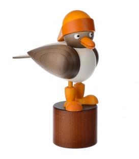 Mouette en bois sur pied, grise avec bonnet marin jaune