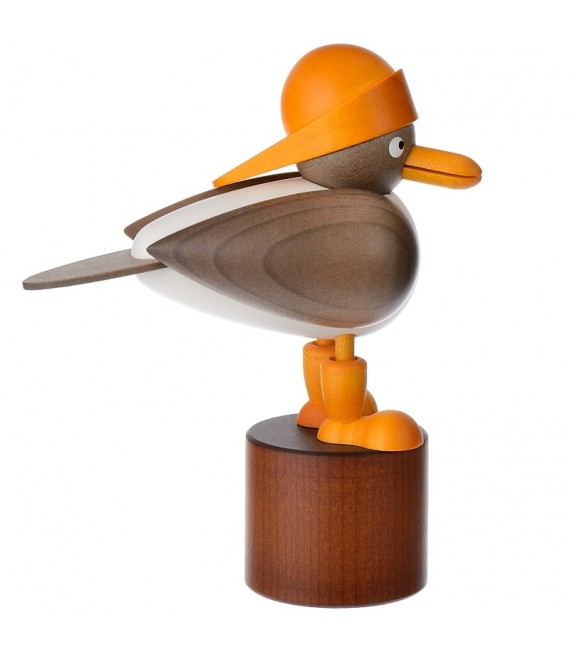 Figurine mouette sur pied en bois