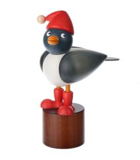 Mouette en bois sur pied, bleue avec bonnet rouge
