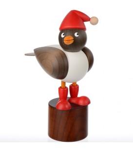 Mouette en bois sur pied, grise avec bonnet rouge