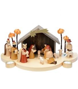 Grande crèche de Noël en bois avec personnages