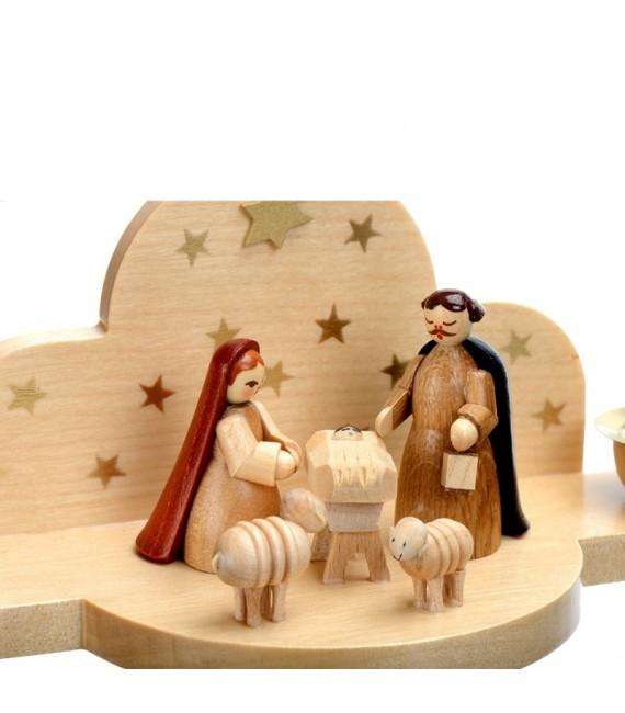 Mini-crèche en bois avec nativité