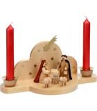 Mini crèche de Noel avec bougies rouges