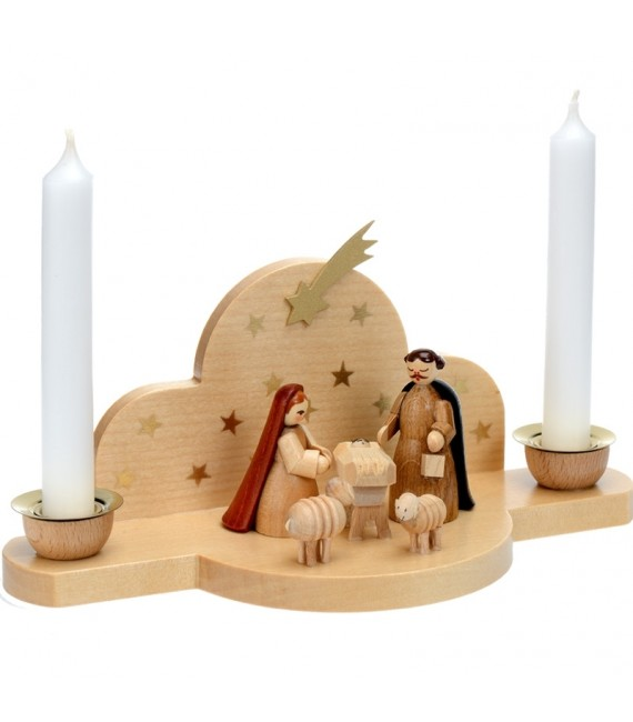 Mini creche de Noël en bois avec 2 bougie blanche