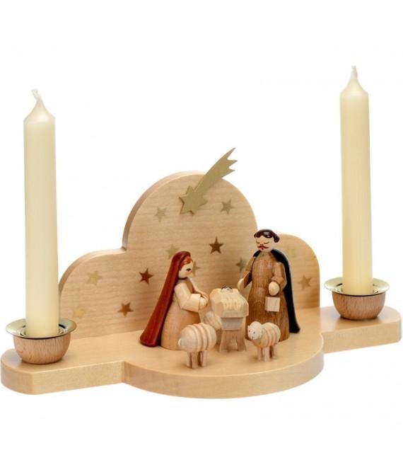 Achat mini creche de Noel avec bougies blanches