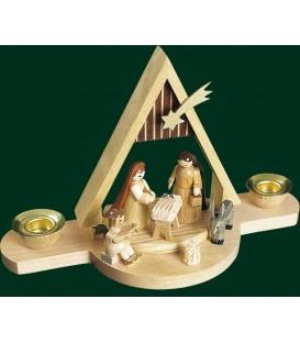 Mini-crèche de Noël en bois avec toit pointu