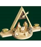 Crèche en bois de Noël avec Jésus et Marie