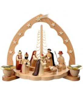Crèche de Noël en bois avec bougeoir 18 cm
